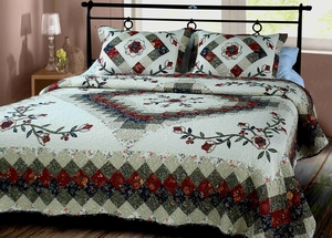 Victorian Treasure Quilt Luxury Oversize King Cotton Quilts 118 x 102 Brand Elegant Decor