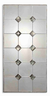 Vidalia Modern Mirror with Antiqued Cut Glass With Silver Leaf Frame Brand Uttermost