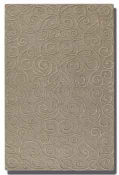 Vienna Dark Taupe 5' Rug with Cut Pile with Raised Scroll Detail Brand Uttermost