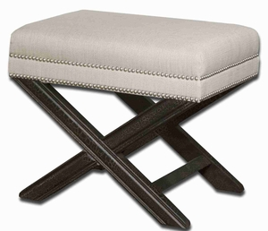 Viera Sandy White Small Bench With Crackled Mahogany Wood Frame Brand Uttermost