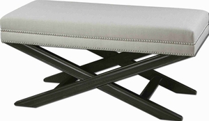 Viera White Bench With Black Crackled Mahogany Frame Brand Uttermost