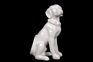 Vigilant & Sitting Ceramic White Dog by Urban Trends Collection