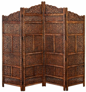 Villa Este Wood Room Divider 4 Panel Wood Carved Screen Brand Woodland