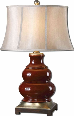 Villalago Red Table Lamp with Matte Black Foot Brand Uttermost
