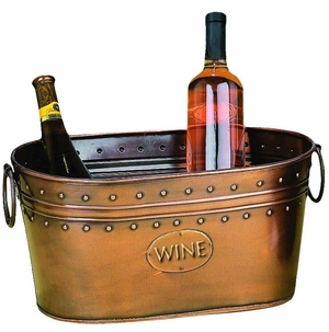 Vino Copper Party Planter Wine Beer Drinks Ice Bucket with Handle Brand Woodland
