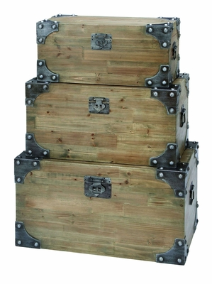 Vintage Appeal Wooden Trunk with Fitted Bolts - Set of 3 Brand Woodland