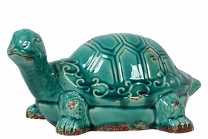 Vintage Ceramic Art Antique Blue Tortoise Sculpture by Urban Trends Collection