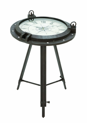Vintage Clock Themed End Table In Iron Alloy Brand Woodland