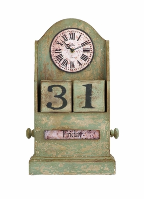 Vintage French Countryside Themed Table Top Clock With Calendar Brand Woodland
