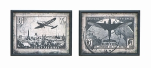 Vintage French Postage Stamp Wall Art In Antique Frame Brand Woodland