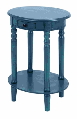 Vintage Handcrafted Accent Table With Mahogany Aqua Blue Wood Brand Woodland