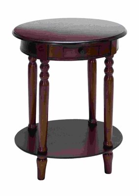 Vintage Handcrafted Accent Table With Plum Purple Mahogany Wood Brand Woodland