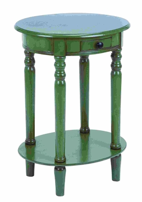 Vintage Handcrafted Accent Table With Polished Grass Green Wood Brand Woodland