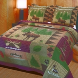 Vintage Home Collection Moose Lodge Multi Color King Quilt Set, 3-Piece by Greenland Home Fashions