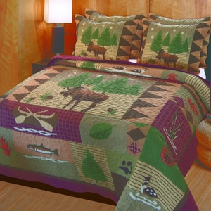 Vintage Home Collection Moose Lodge Multi Color Standard Sham by Greenland Home Fashions