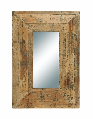 Vintage Looking Glass Mirror With Antique Rectangle Wood Frame Brand Woodland