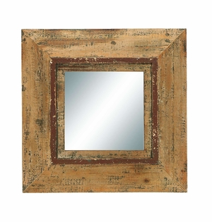 Vintage Looking Glass Mirror With Antique Square Wood Frame Brand Woodland