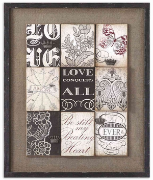 Vintage Love Framed Art with Distressed Topcoat Brand Uttermost