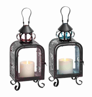 Vintage Metal Glass Lantern Assorted Brand Benzara