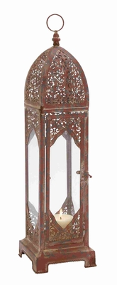 "Vintage & Old World Charm 23""H Metal Glass Lantern in Red  by Benzara"