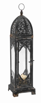 "Vintage & Old World Charm 27""H Metal Glass Lantern in Black Brand Woodland"