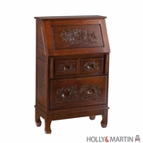 Vintage Piece of Holly & Martin Logan Hand-Carved Secretary Desk by Southern Enterprises