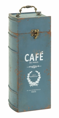 Vintage Portable Wine Bottle Case With Paris Cafe Theme Brand Woodland