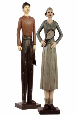Vintage Set of Two Resin Tennis Player in Classic Attire