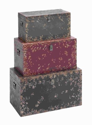 Vintage Sturdy Wooden Trunk with Worn Out Finish (Set of 3) Brand Woodland