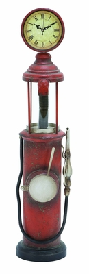 Vintage Style Gas Pump Standing Floor Clock In Iron Alloy Brand Woodland