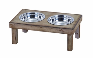 Vintage Style Handmade Pet Feeder Food Bowl With Solid Wood Brand Woodland