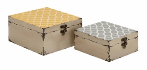 Vintage Themed Trendy Square Shaped Set of Two Boxes by Woodland Import