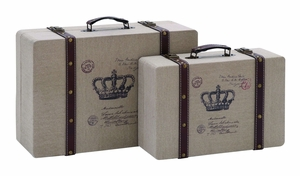 Vintage Wood And Burlap Crown Travel Luggage With Leather Trim Brand Woodland