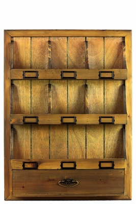 Vintage Wooden Cabinet with Multiple Compartments