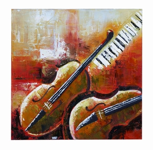 Violin Painted Canvas With Abstract Instruments Brand Woodland