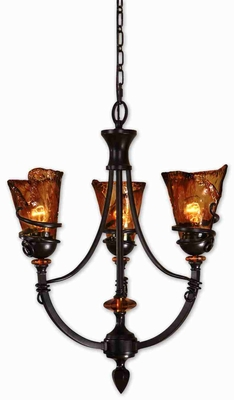 Vitalia 3 Light Chandelier With Oil Rubbed Bronze Curls Brand Uttermost