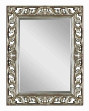 Vitaliano Wall Mirror with Open And Distressed Silver Frame Brand Uttermost