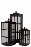 Voguish & Smart Metal Lantern Set of Three in Brown