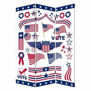 Vote 3 Panel Screen Crafted with Complementary Images on Canvas Brand Screen Gem