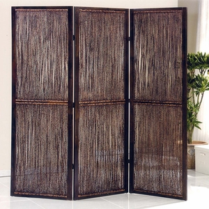Waikoloa 3 Panel Wooden Screen with Textured Design in Dark Brown Brand Screen Gem