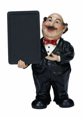 "Waiter Fat Chef With Chalk Menu Sign Board 18""H Brand Woodland"