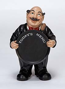 Waiter Fat Chef with Today's Menu Chalk Board, Chef Sign Board Brand Woodland
