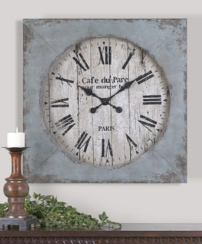 Wall Clock - Antique Metal Wall Clock With Roman Numeral Face Brand Uttermost