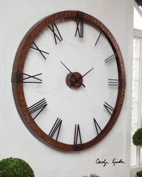 Wall Clock - Clever Oversized Copper Clock With Roman Numerals Brand Uttermost