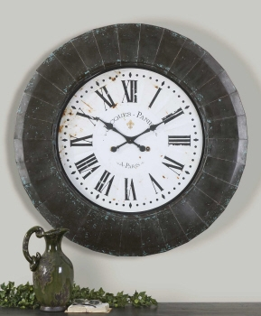 Wall Clock - Rustic Metal Wall Clock With Roman Numeral Face Brand Uttermost