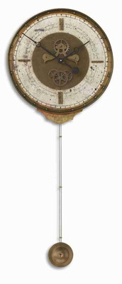 Wall Clock With Weathered Brass and a Long Pendulum Brand Uttermost