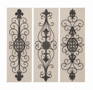 Wood MetalDecor 3 Assorted wall decor - 66762 by Benzara