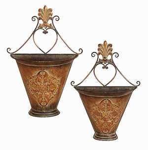 Wall Planter in Rustic Finish with Artistic Design - Set of 2 Brand Woodland