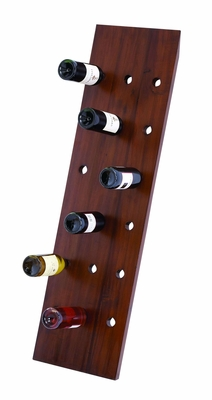 "Wall Wooden Wine Rack in Dark Brown Finish 50"" Height Brand Woodland"