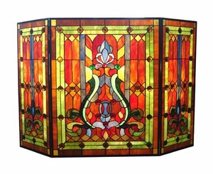 Warm Shaded Fancy Victorian Fireplace Screen by Chloe Lighting
